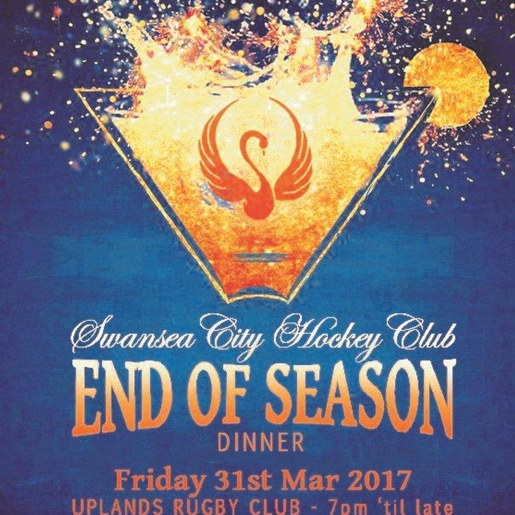End of Season Club Dinner 31st March<