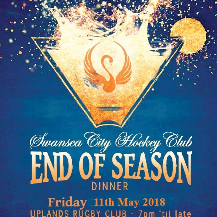End of Season Club Dinner Friday 11th May 2018<