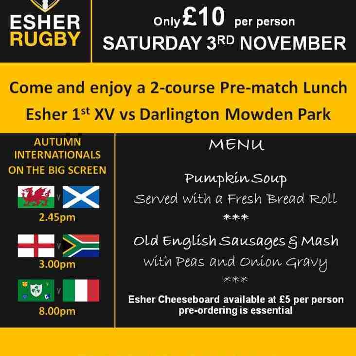 Esher vs Darlington Mowden Park pre-match lunch