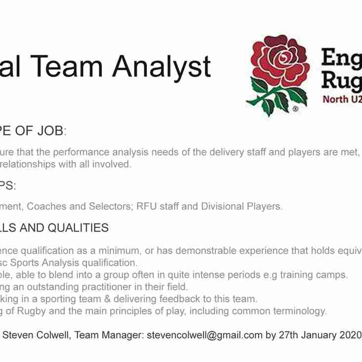 NORTH U20 ANALYST - APPLICATIONS OPEN