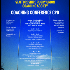 Staffordshire Rugby Union Coaching Society Conference 2016