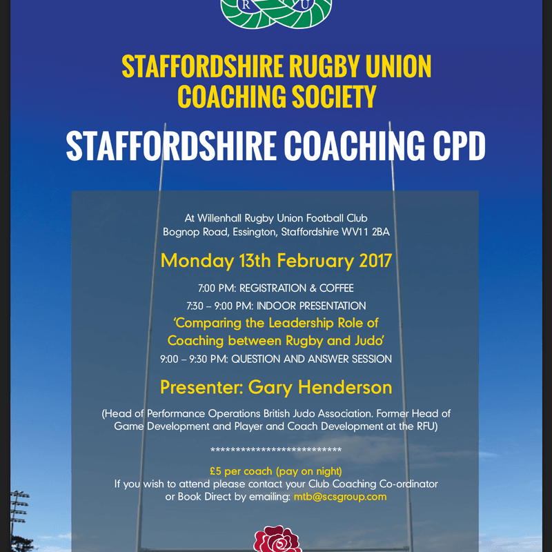 STAFFORDSHIRE RUGBY UNION COACHING DEVELOPMENT EVENING