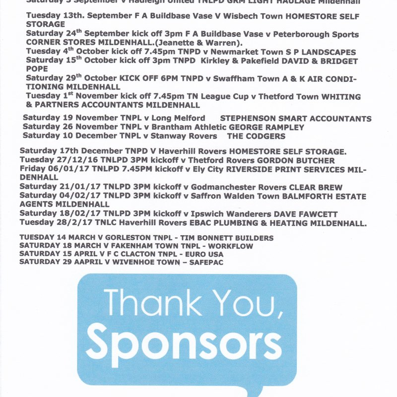 MATCH SPONSORS FOR THIS SEASON.
