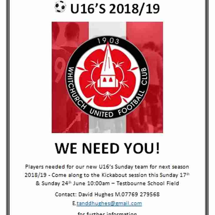 Players wanted for a new U16 Sunday side next season