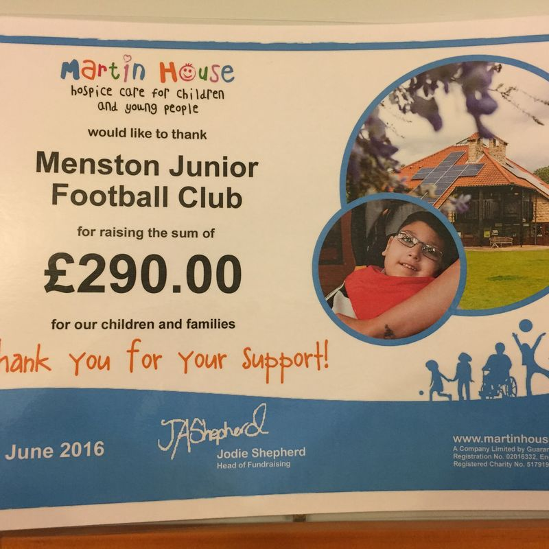 "Last seasons ""Cup Final"" friendly raised £290 for Martin House"
