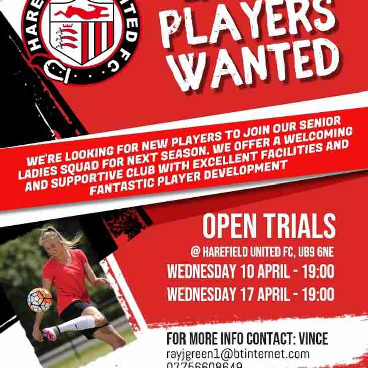 NEW SENIOR LADIES SIDE FORMED PLAYERS WANTED