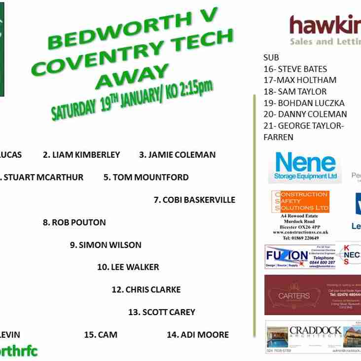 Bedworth team for this weekend.