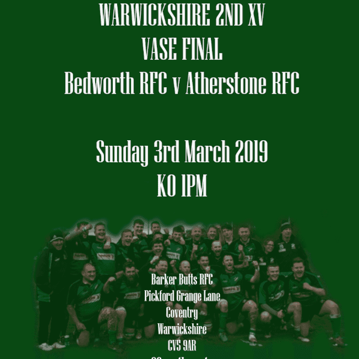 Bedworth Extras vs Atherstone 2's SAVE THE DATE!!