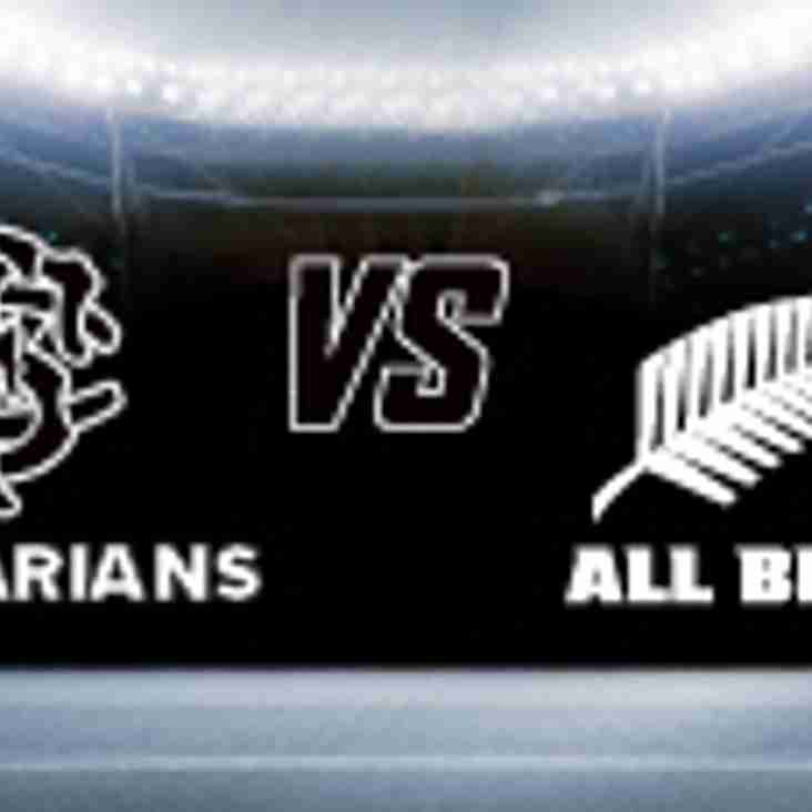 Tickets for Barbarians v All Blacks 4th November available now via Ticketmaster