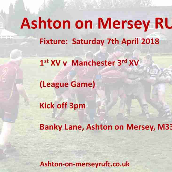 Home game this Saturday v Manchester 3s