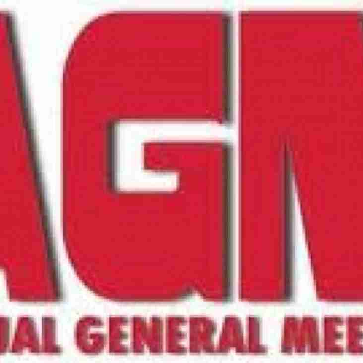 AGM Date Wednesday 24th October at 6pm at the Club.