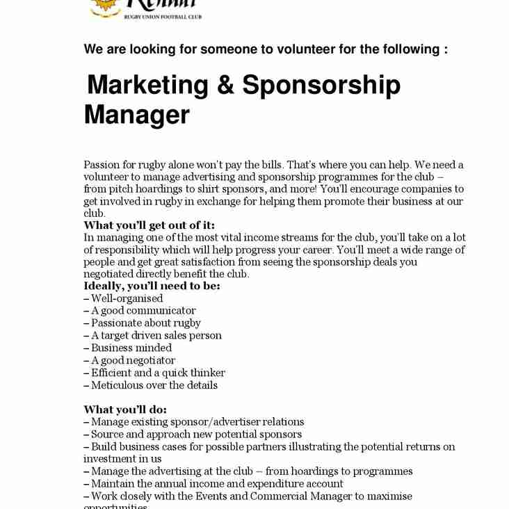 Marketing and Sponsorship Manager