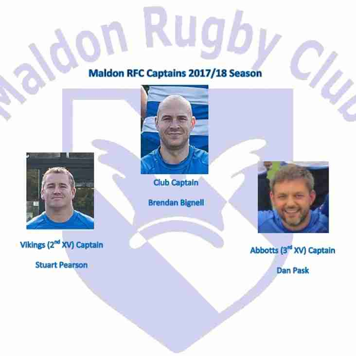 Maldon RFC Captains voted in for the 2017/18 Season