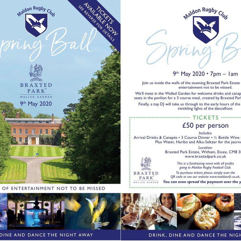 Maldon RFC 2020 Spring fundraiser Ball at Braxted Park