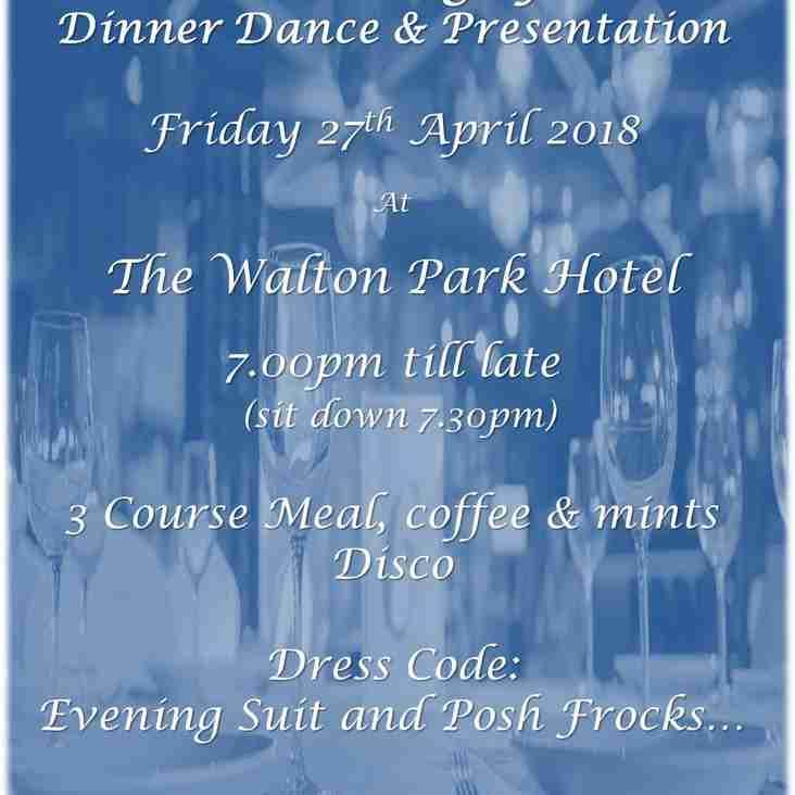 Dinner Dance & Presentation 27th April 2018