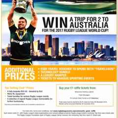 Chance to win a trip to Australia for two for the 2017 Rugby League World Cup!