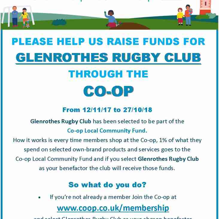 Glenrothes RFC selected by Co-op Community Fund