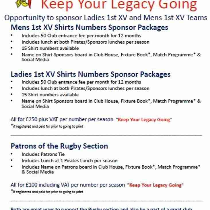 Trojans Rugby Sponsor Packages 2016-17 Season