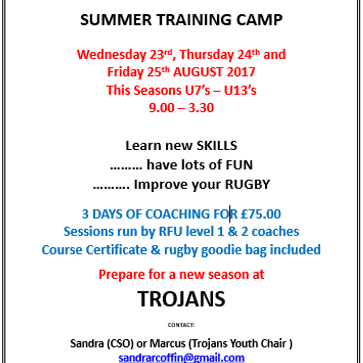 Trojans Youth Summer Training Camp 2017