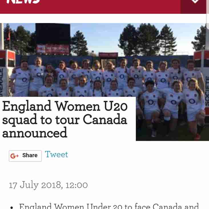 CONGRATULATIONS TO BETH WILCOCK IN U20 SQUAD TO CANADA