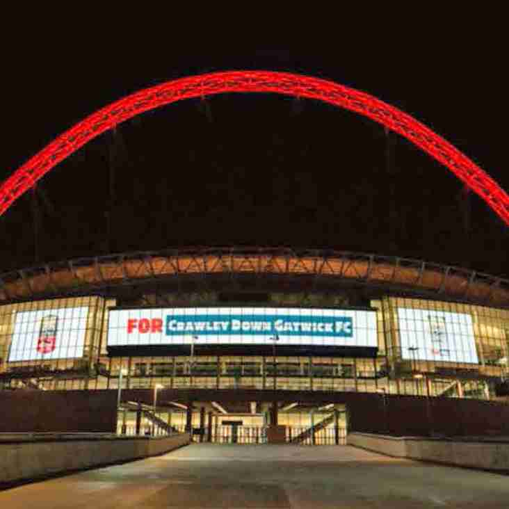 Wembley's Iconic Arch lit up with the ANVILS