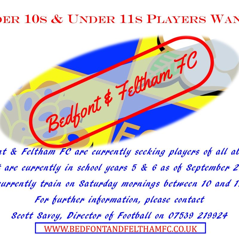Under 10s & Under 11s Players Wanted