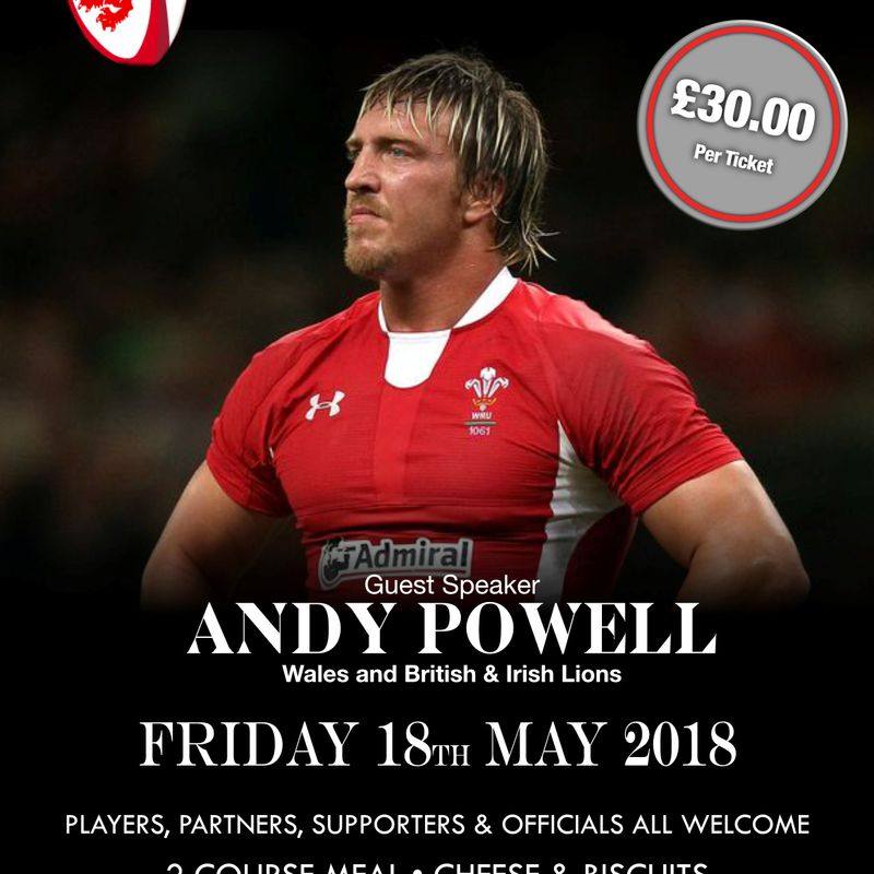 Club Dinner - Friday 18th May - Guest Speaker Andy Powell