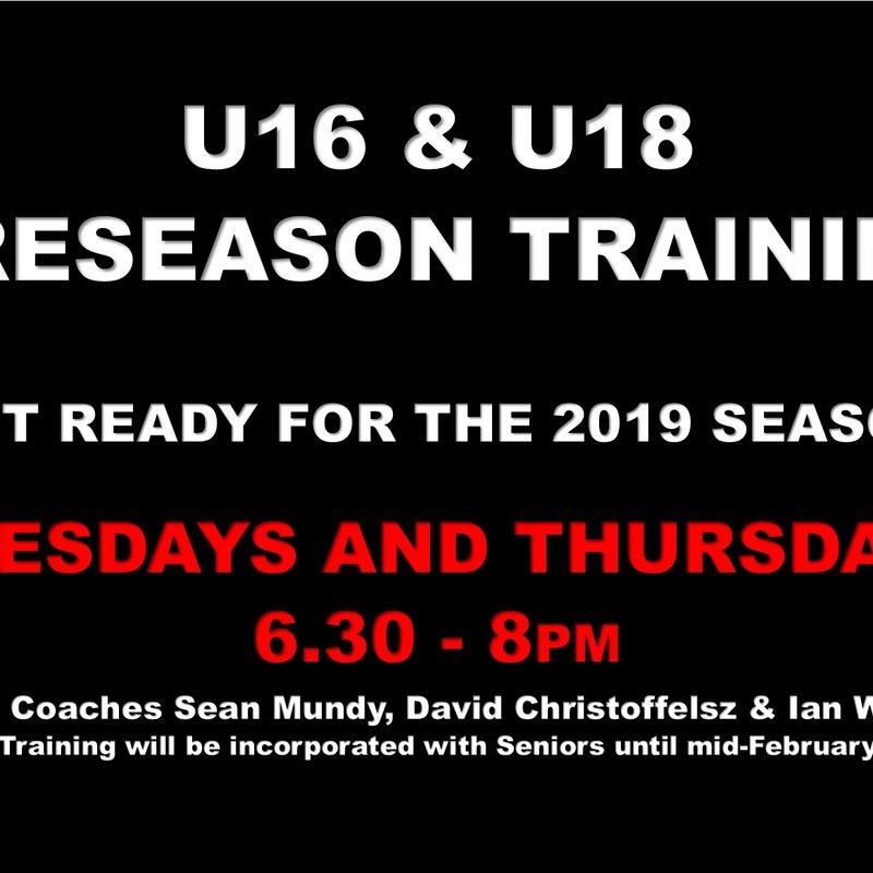 U16 & U18 Preseason Training - On Now