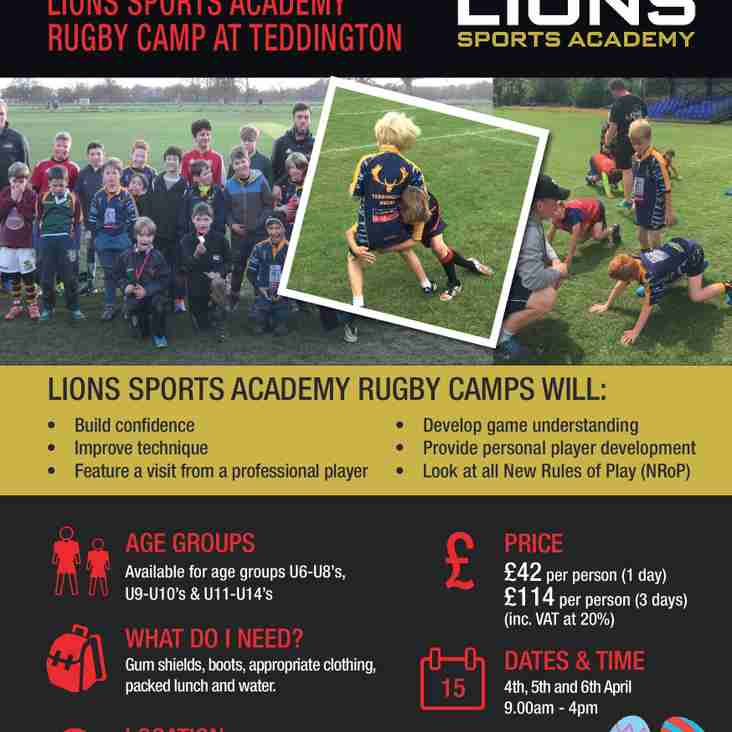 Lions Rugby Easter Camp at Teddington RFC