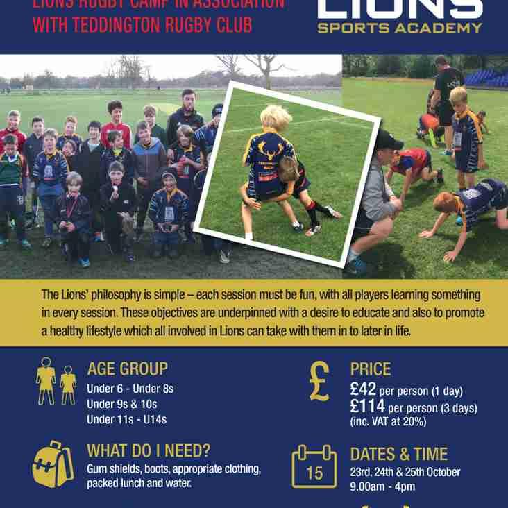 Lions Rugby October Half term Camp at Teddington RFC
