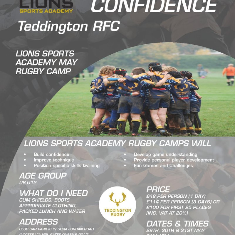 Lions Rugby May Half term Camp at Teddington RFC