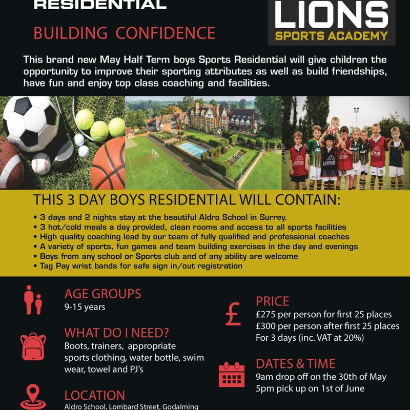 Lions Sports Academy Half Term Course