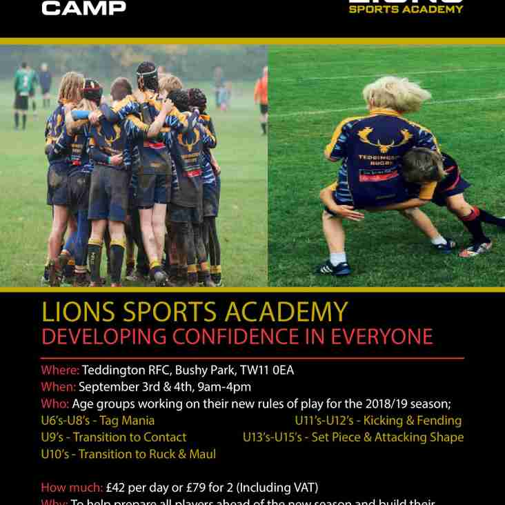 Lions Sports Academy Back to Rugby Camp