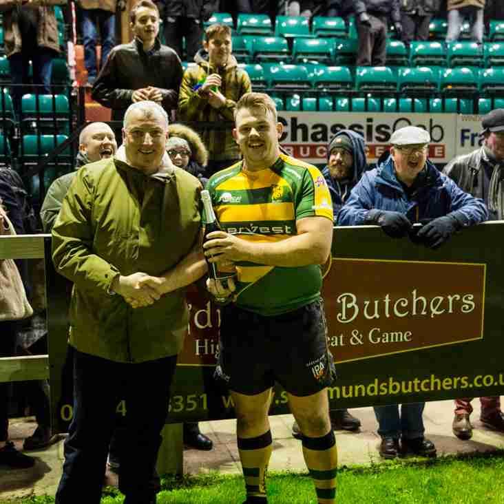 Scott Brown picks up St Edmunds Butchers Man of the Match Award