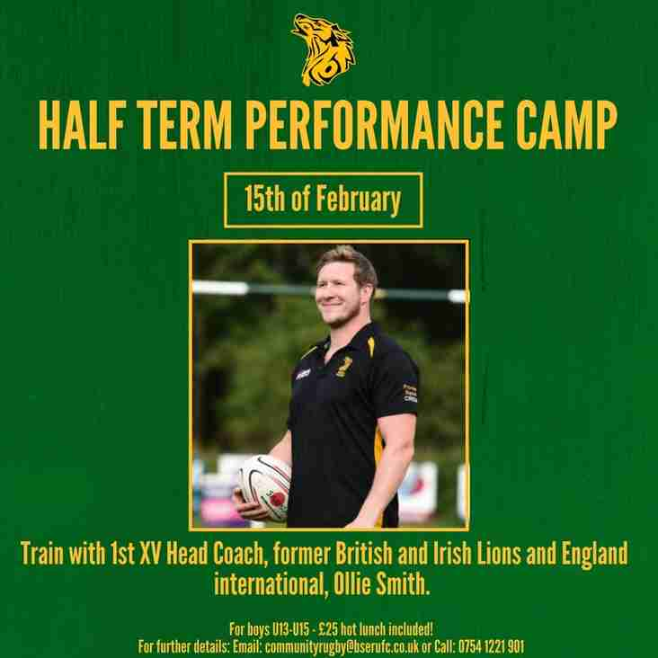 Half Term Performance Camp for Youth hosted by British & Irish Lion player, our head coach Ollie Smith
