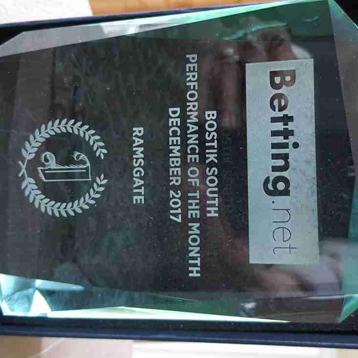 11 Jan Ramsgate win Performance of Month