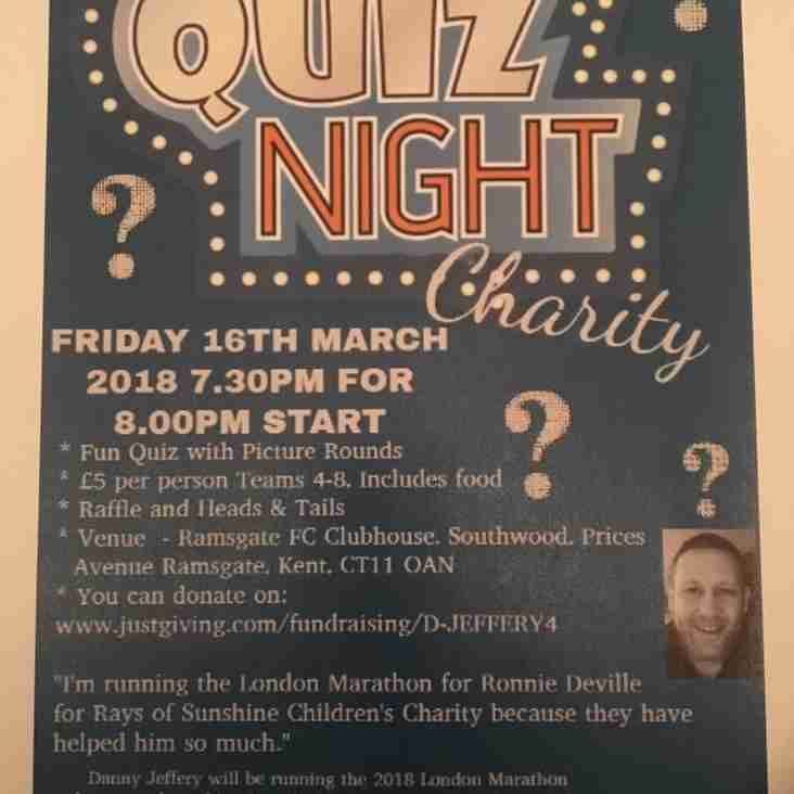 16 Mar: Charity Quiz at the Club