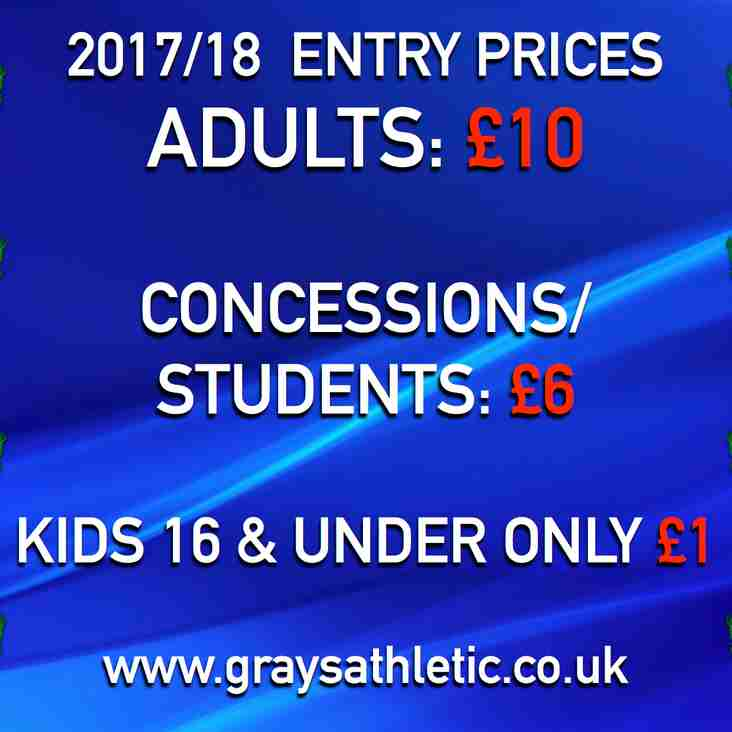2017/18 ENTRY PRICES FROZEN