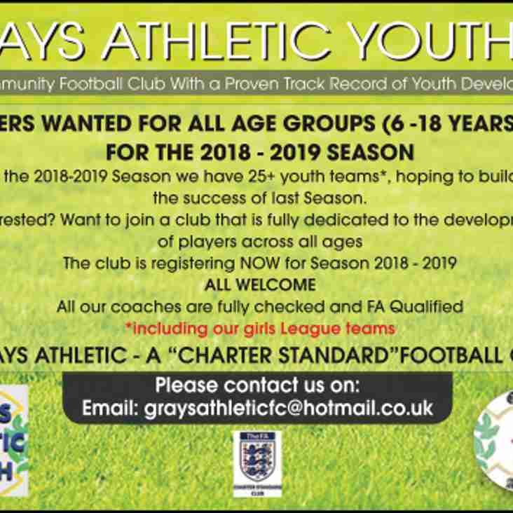 GRAYS ATHLETIC YOUTH - PLAYERS WANTED FOR ALL AGE GROUPS