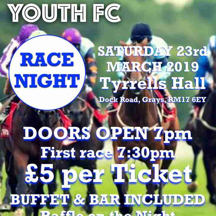RACE NIGHT - JOIN US TO HELP RAISE FUNDS FOR THE YOUTH SQUADS