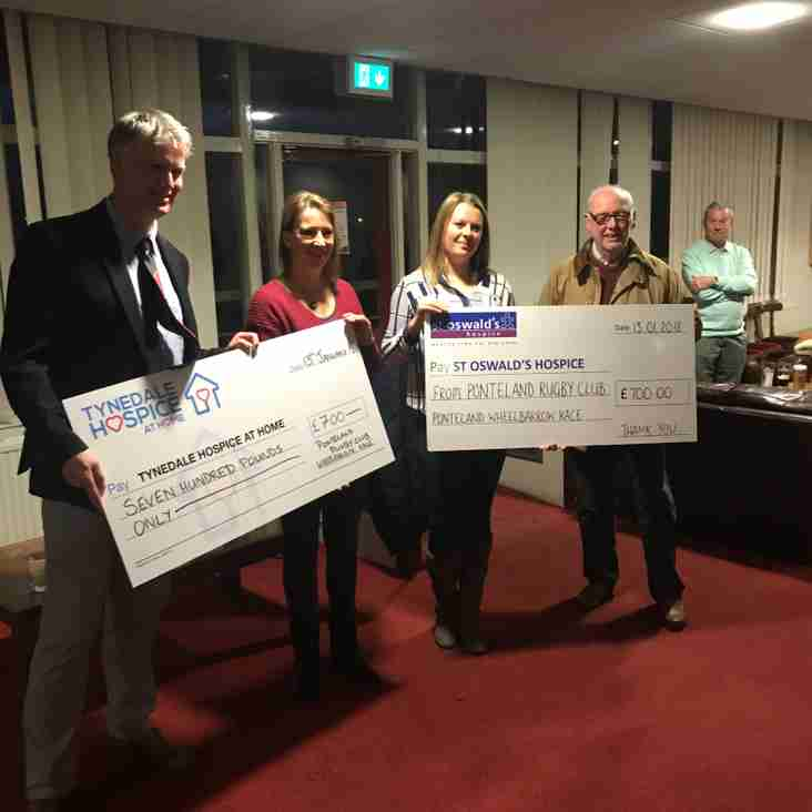Local Hospices benefit from Rugby Club's presentation after Stockton game
