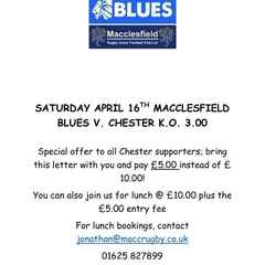 Half price entry at Macclesfield on Saturday