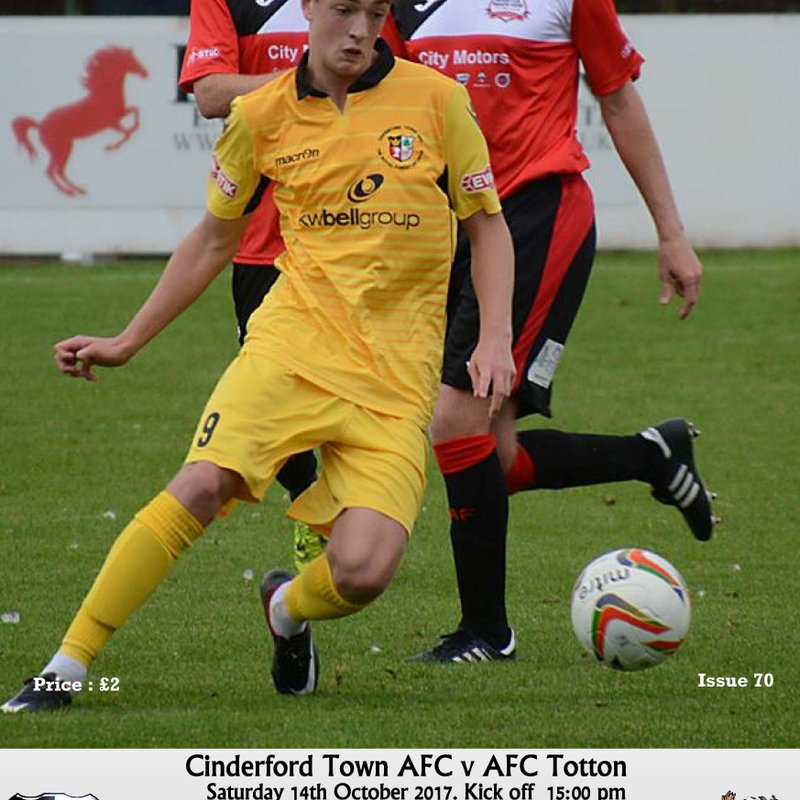 Matchday Programme Now Online - Cinderford Town vs AFC Totton