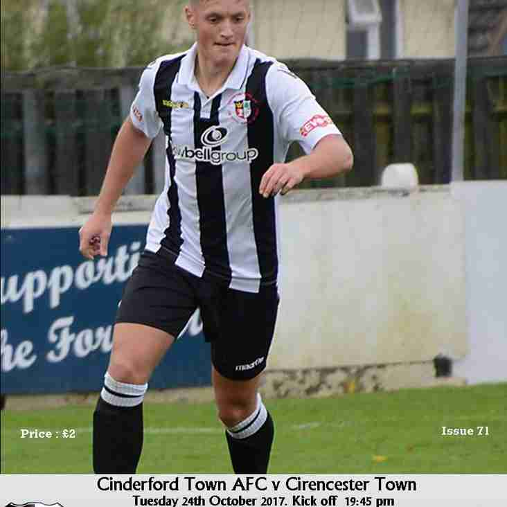 Matchday Programme - Cinderford Town vs Cirencester Town