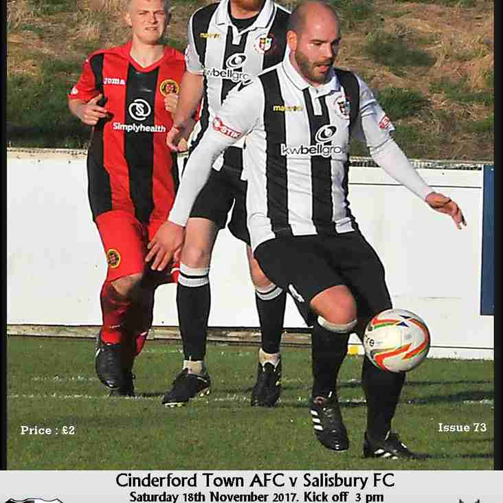 Matchday Programme - Cinderford Town vs Salisbury - Now Online