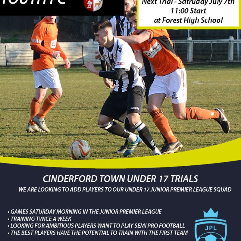 Cinderford Town Enter Under 17s in Junior Premier League - Players Wanted