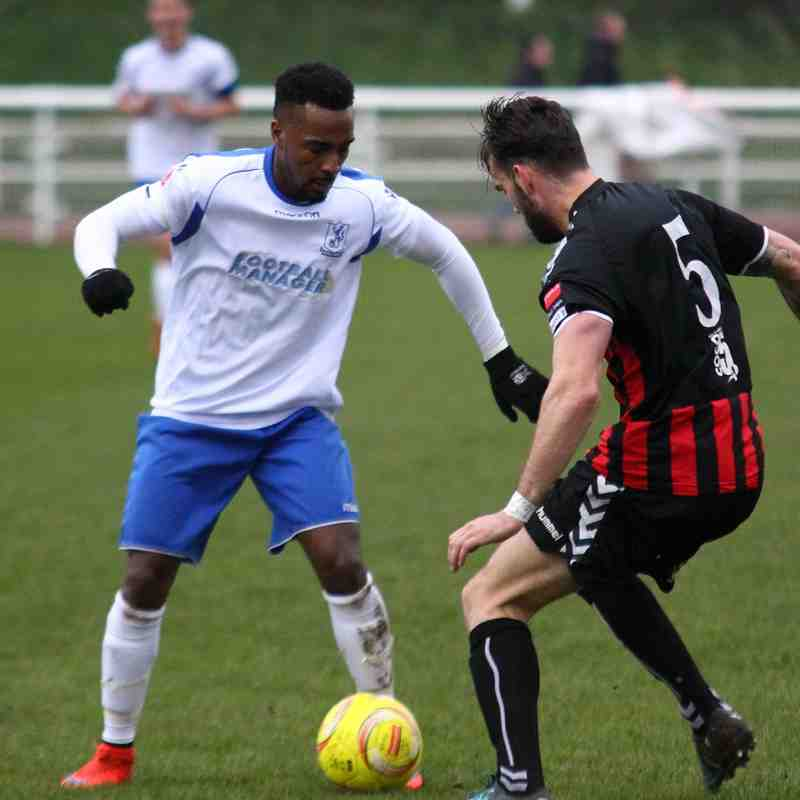 Enfield's Bobby Devyne (L) and Lewes's Stacey Freeman
