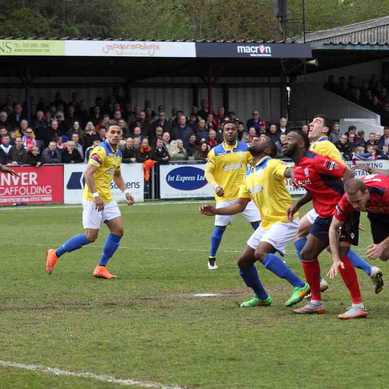 All eyes on a high ball in the Hampton penalty area