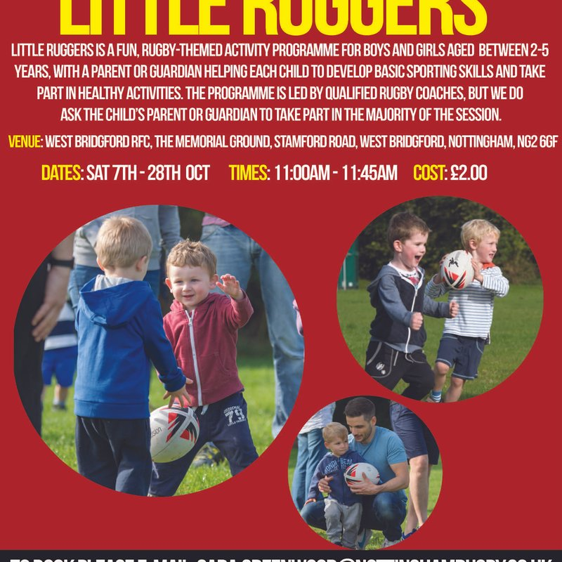 Nottingham Rugby Little Ruggers has asked West Bridgford Rugby Club to host their next session of Little Ruggers.