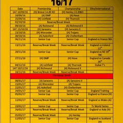 Wasps Ladies 2016/17 Fixtures